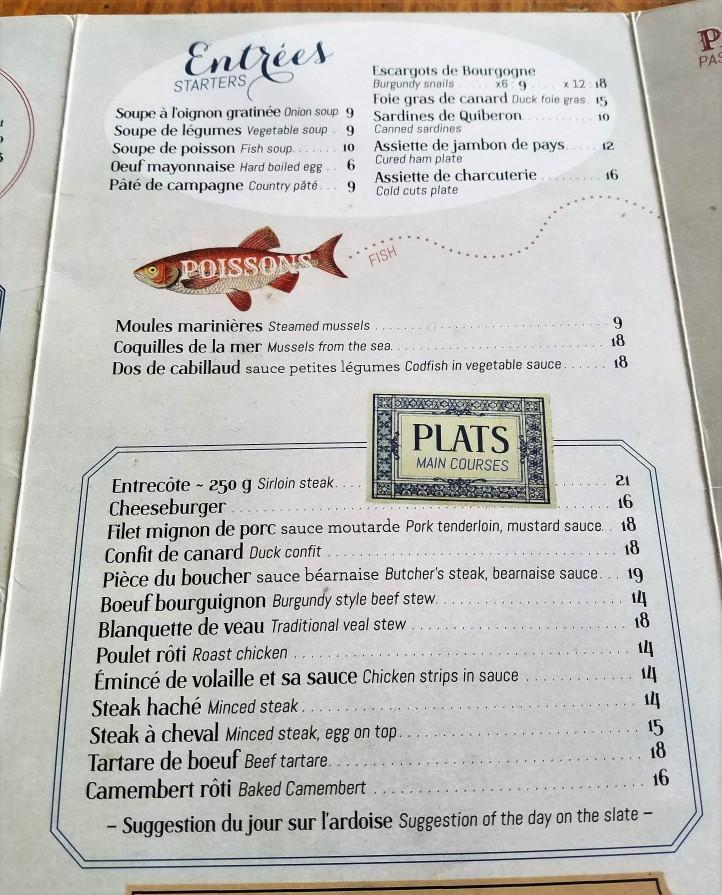 paris cafe menu