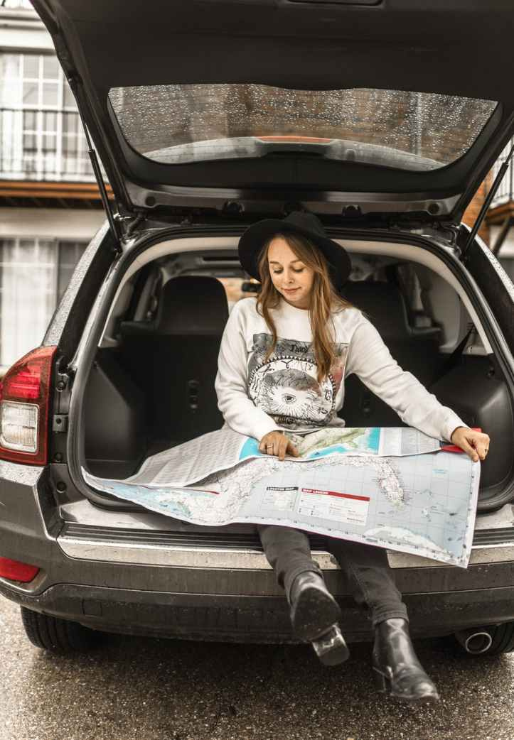 woman using map on gray car compartment